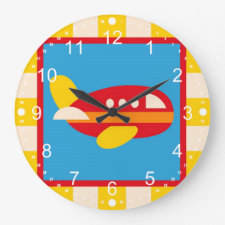 Cute Airplane Transportation Theme Kids Gifts Wall Clock