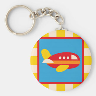 Cute Airplane Transportation Theme Kids Gifts Basic Round Button Keychain