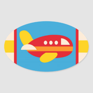 Cute Airplane Transportation Theme Kids Gifts Oval Sticker