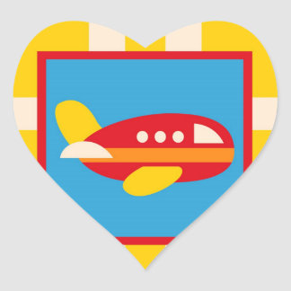 Cute Airplane Transportation Theme Kids Gifts Heart Sticker