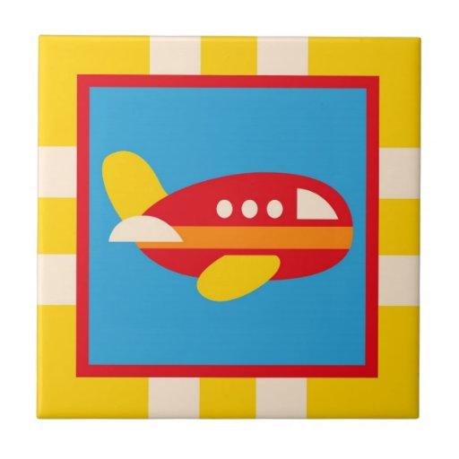 Cute Airplane Transportation Theme Kids Gifts Ceramic Tiles