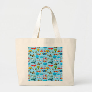 Cute Airplanes Helicopters Airships  Pattern Jumbo Tote Bag