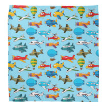 Cute Airplanes Helicopters Airships  Pattern Bandana