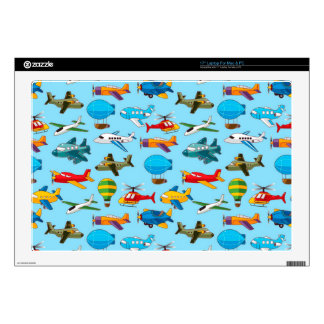 """Cute Airplanes Helicopters Airships  Pattern Skin For 17"""" Laptop"""