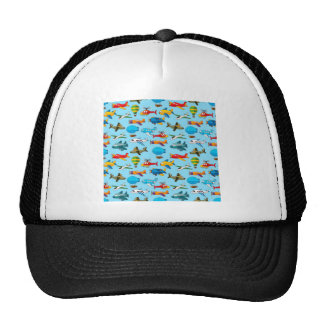 Cute Airplanes Helicopters Airships  Pattern Trucker Hat