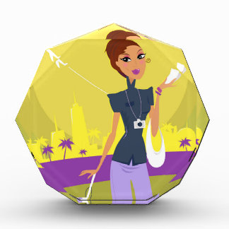 Cute airport girl with flying ticket illustration acrylic award