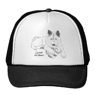 Cute akita and teddy bear dog art trucker hat