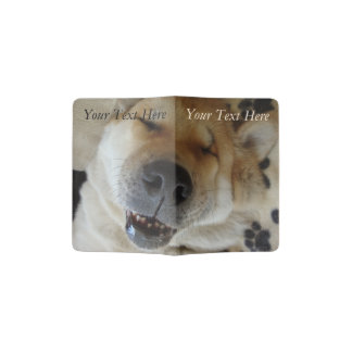 cute akita asleep smiling unique funny dog photos passport holder