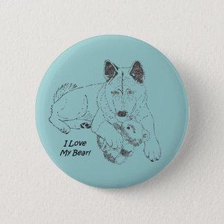 Cute akita dog and teddy bear drawing original art pinback button