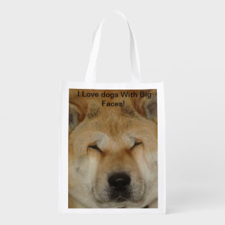 cute akita funny big loving face photograph grocery bag
