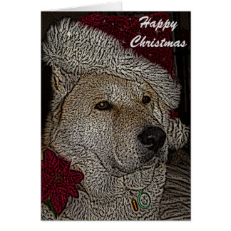 Cute akita in red santa hat portrait christmas card