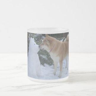 cute akita kissing snowman akita photo christmas frosted glass coffee mug