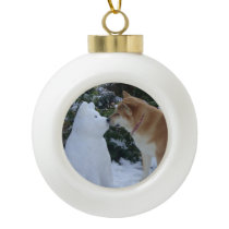 cute akita kissing snowman akita photograph ceramic ball christmas ornament