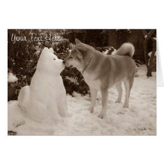 cute akita kissing snowman akita photograph greeting card