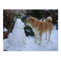 cute akita kissing snowman akita photograph postcard