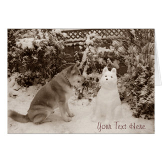 cute akita sitting with snowman snow dog photo card