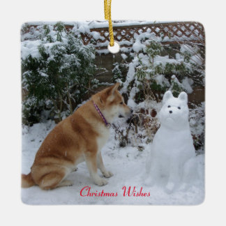 cute akita sitting with snowman snow dog photo ceramic ornament