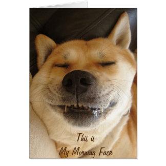 cute akita with funny smile morning face slogan card