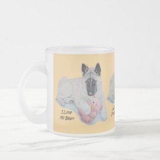 Cute akita with pink teddy bear art frosted glass coffee mug