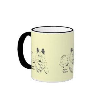 Cute akita with pink teddy bear art ringer mug