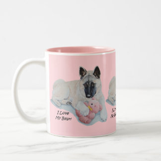 Cute akita with pink teddy bear art Two-Tone coffee mug