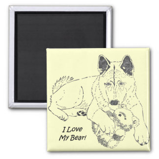 Cute akita with teddy bear dog prtrait art 2 inch square magnet