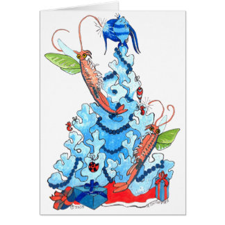 Cute Alaskan Fairy Shrimp and Tree Christmas Card