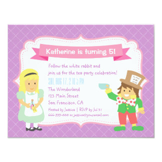 Cute Alice and Hatter Wonderland Tea Party 4.25x5.5 Paper Invitation Card