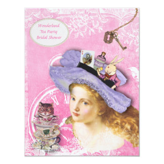 Cute Alice in Wonderland Collage Bridal Shower Card