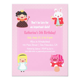 Cute Alice in Wonderland Girls Birthday Party Card
