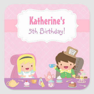 Cute Alice in Wonderland Tea Birthday Party Square Sticker