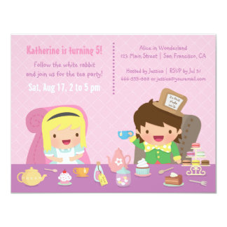 Cute Alice in Wonderland Tea Party Birthday Party Card