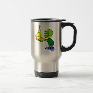 Cute Alien Boy With Toy Boat Travel Mug