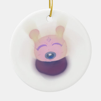 Cute Alien Double-Sided Ceramic Round Christmas Ornament