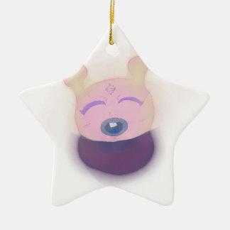 Cute Alien Double-Sided Star Ceramic Christmas Ornament