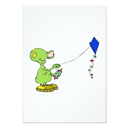 Cute Alien Flying Kite 5x7 Paper Invitation Card