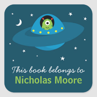 Cute alien in space personalized bookplate book