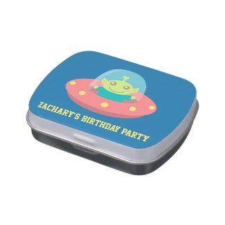 Cute Alien in Spacecraft, Birthday Party Favor Candy Tins