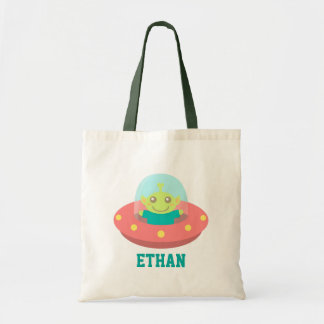 Cute Alien in Spaceship, Outer Space Canvas Bags