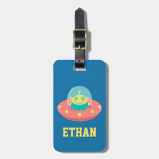 Cute Alien in Spaceship, Outer Space Bag Tags