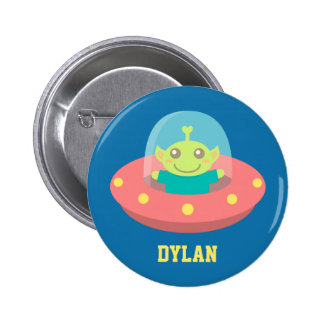 Cute Alien in Spaceship, Outer Space Button