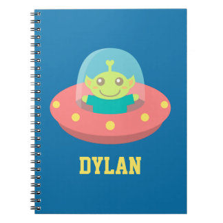 Cute Alien in Spaceship, Outer Space, For Kids Notebook