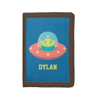 Cute Alien in Spaceship, Outer Space, For Kids Tri-fold Wallets