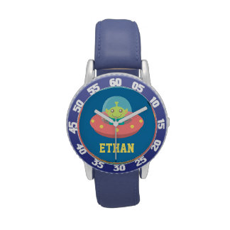 Cute Alien in Spaceship, Outer Space, For Kids Watches