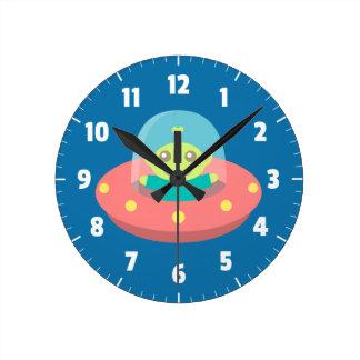 Cute Alien in Spaceship, Outer Space, Kids Room Wall Clocks