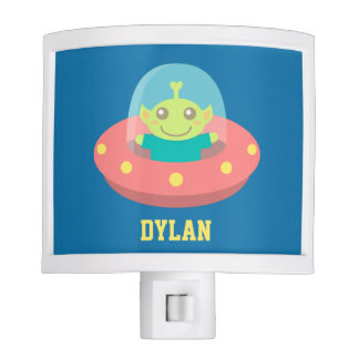 Cute Alien in Spaceship, Outer Space, Kids Room Night Light