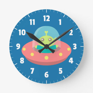 Cute Alien in Spaceship, Outer Space, Kids Room Round Clock