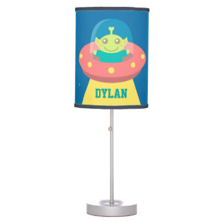 Cute Alien in Spaceship, Outer Space, Kids Room Table Lamp