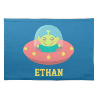 Cute Alien in Spaceship, Outer Space Placemat