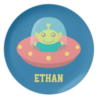 Cute Alien in Spaceship, Outer Space Party Plates